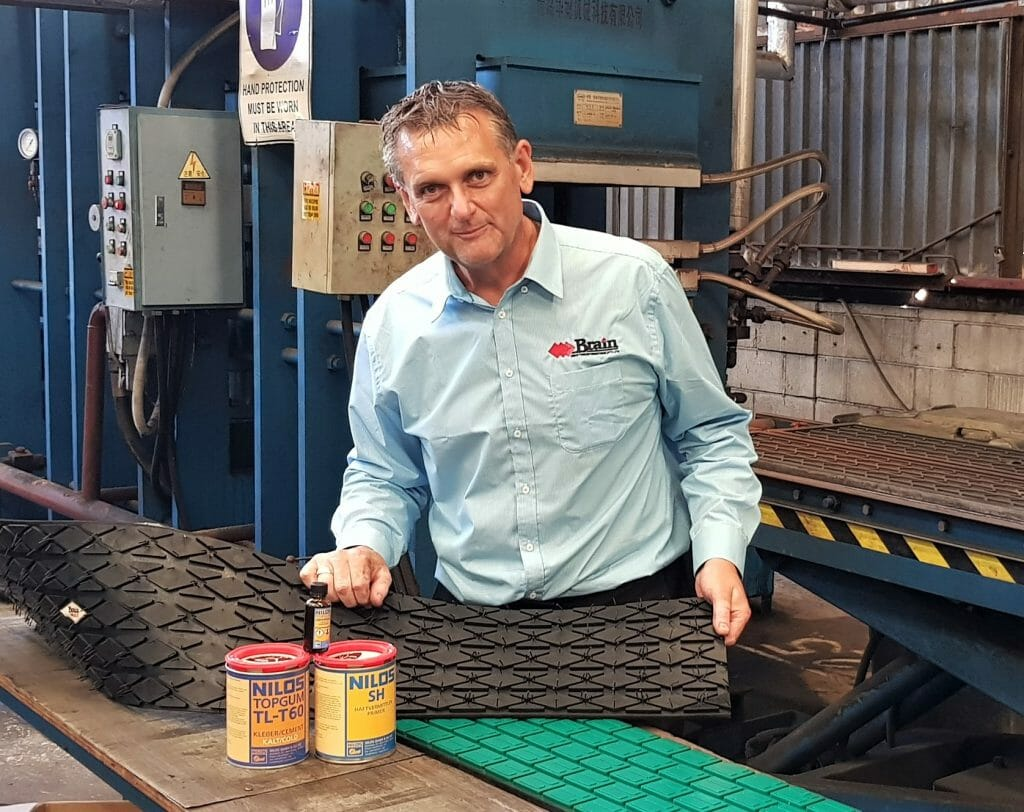 Product Manager David Pandel with Brain's new diamond pattern rubber backed pulley lagging