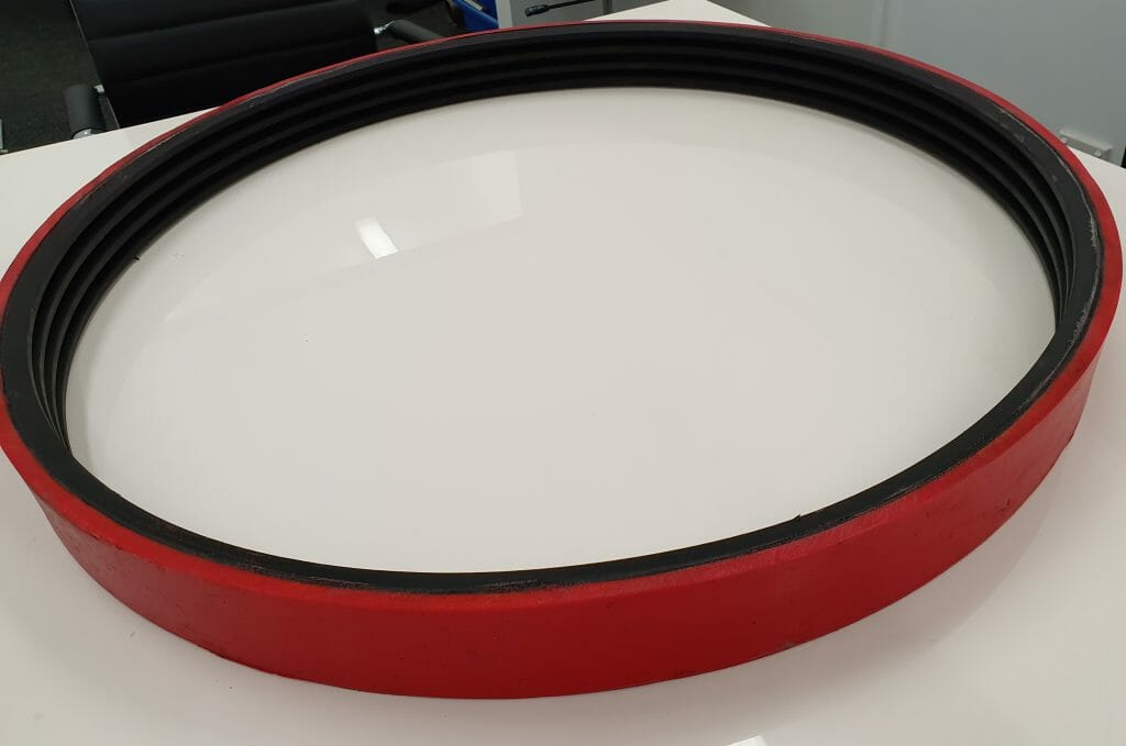 Coating the rubber Vee Belt with polyurethane has made it operational and extended its life.