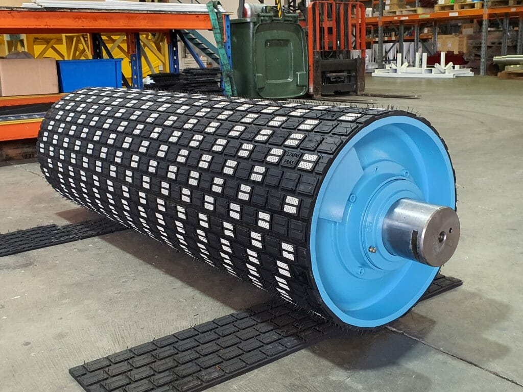 Brain Industries 50% ceramic lagging on a refurbished conveyor pulley