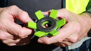 The green tabs on the Visyload load sensing washer curl down when fully deployed confirm a rock bolt or anchor's safe working load limit