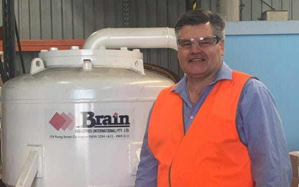 Brain Industries Business Development Manager Garry Mott is in the manufacturing facility with a Brain Airloader pump