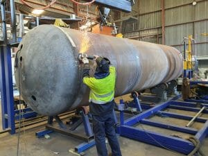 Brain Industries manufacturing a 20 tonne stone dusting pod for its partner Strata Worldwide to service the mining industry