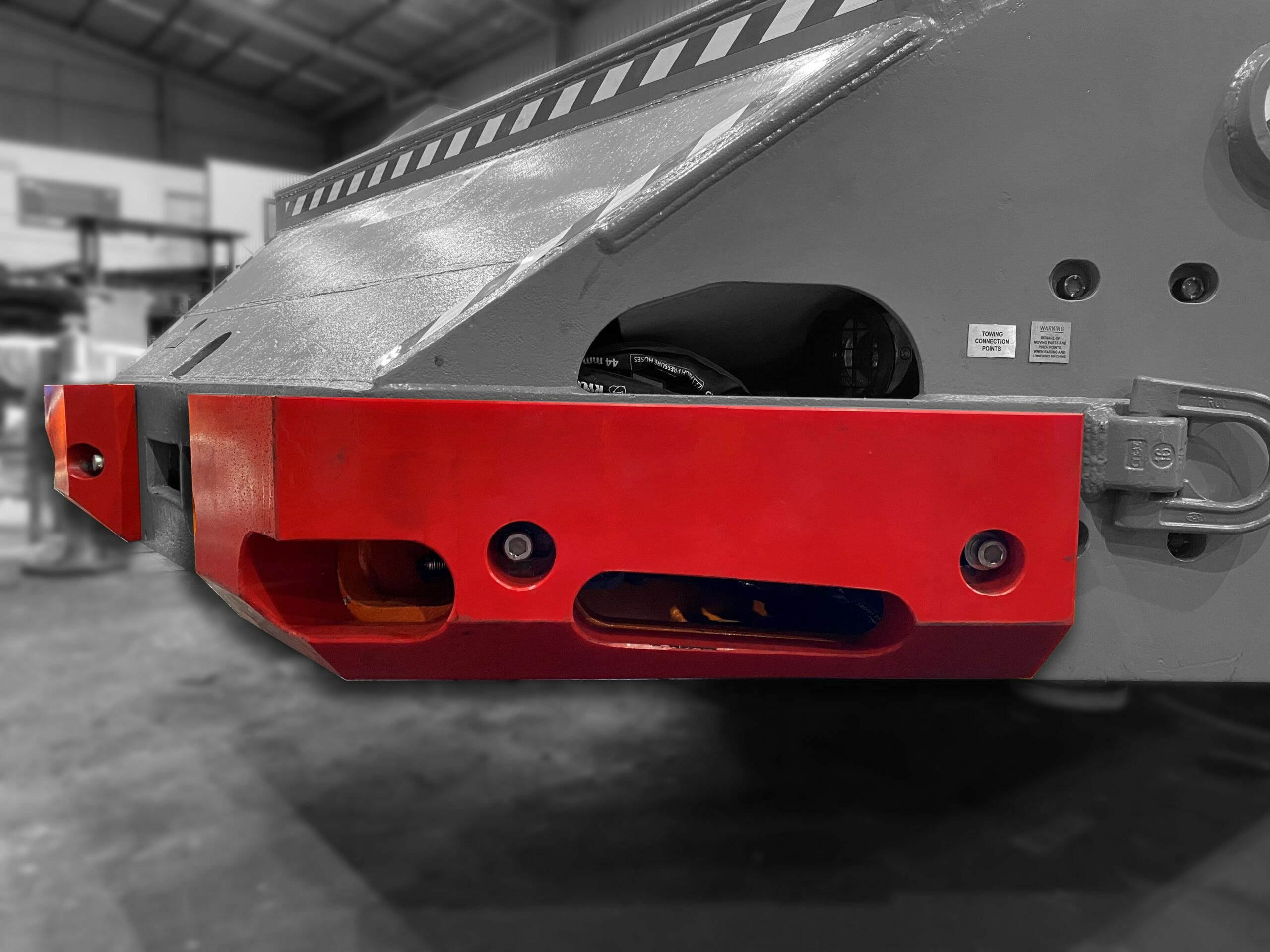 FRAS polyurethane replacement parts installed on an underground coal mine shuttle car
